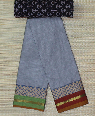 Grey soft chettinad cotton saree with kalamkari blouse