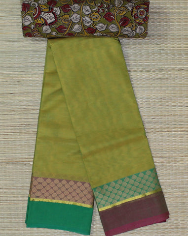 Green soft chettinad cotton saree with kalamkari blouse