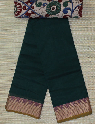 dark green soft chettinad cotton saree with kalamkari blouse