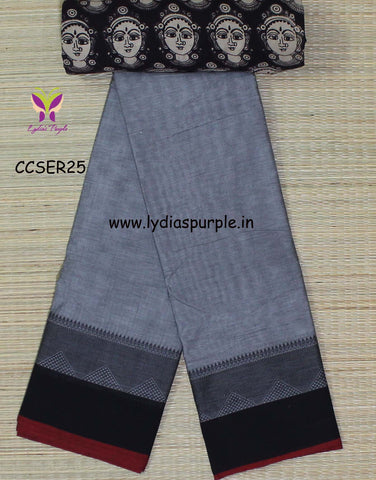 grey and black soft chettinad cotton saree