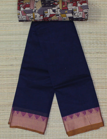 navy blue soft cotton chettinad saree with kalamkari blouse