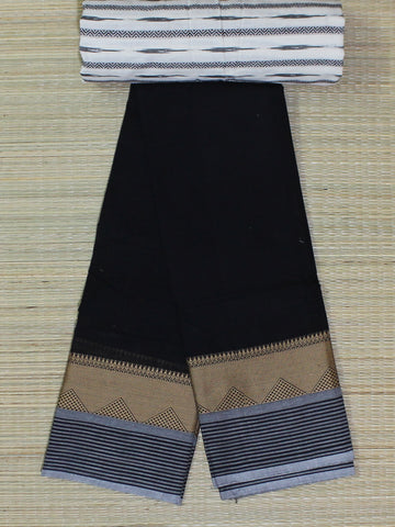 black soft chettinad cotton saree with kalamkari blouse