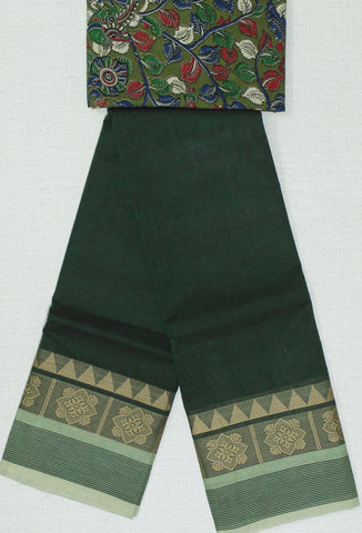 CCSER29- soft green chettinad cotton saree with blouse and kalamkari blouse( double blouse)