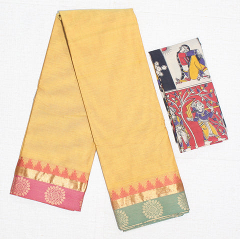 CCSER30- soft mustard yellow chettinad cotton saree with blouse and kalamkari blouse( double blouse)