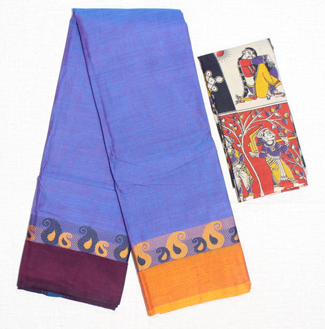 CCSER31- soft lavender chettinad cotton saree with blouse and kalamkari blouse( double blouse)