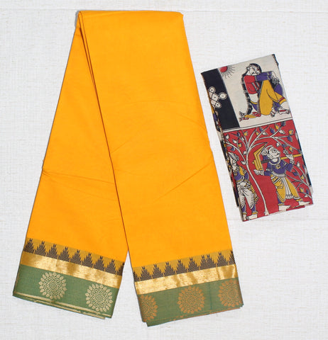 CCSER32- soft mango yellow chettinad cotton saree with blouse and kalamkari blouse( double blouse)