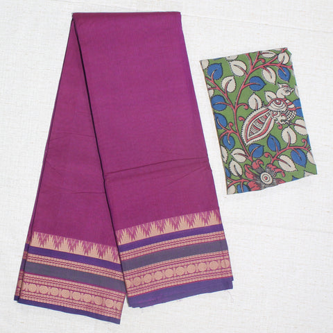 CCSER33- soft grape pink chettinad cotton saree with blouse and kalamkari blouse( double blouse)
