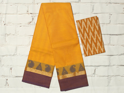 CCSER36- soft mustard yellow chettinad cotton saree with blouse and ikkat blouse( double blouse)