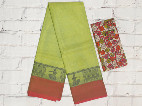 CCSER39- soft mehendi green chettinad cotton saree with blouse and ikkat blouse( double blouse)