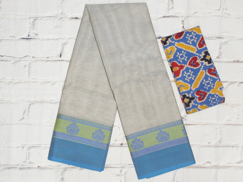 CCSER40 - stone grey chettinad cotton saree with blouse and kalamkari blouse( double blouse)