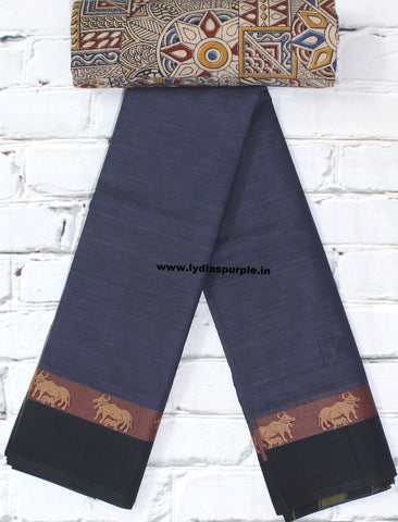 dark grey chettinadu cotton saree with kalamkari blouse- lydias purple
