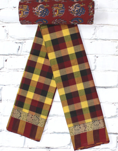 checks pattern yellow chettinadu cotton saree with kalamkari blouse