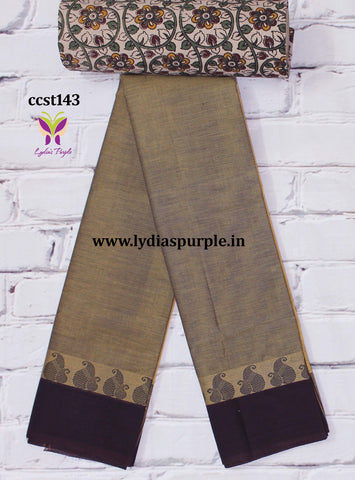 CCST142-Chettinad Cotton saree with mango thread border and Kalamkari blouse
