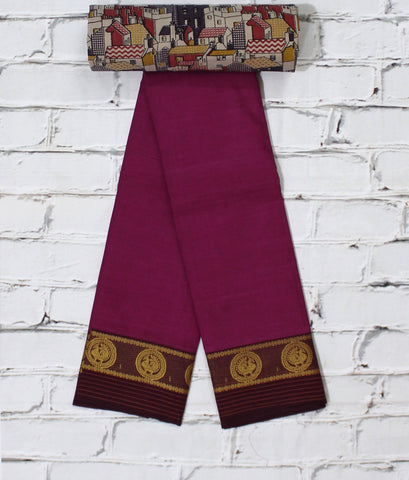 Chettinad cotton saree with kalamkari blouse - lydiaspurple