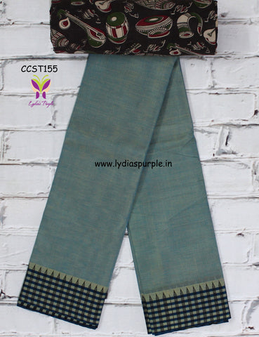 CCST155-Chettinad Cotton saree with checks thread border and Kalamkari blouse