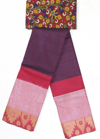 CCST162-Chettinad Cotton saree with pattern zari border and Kalamkari blouse