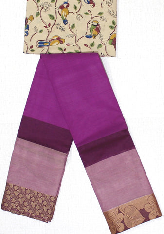 CCST163-Chettinad Cotton saree with pattern zari double border and Kalamkari blouse