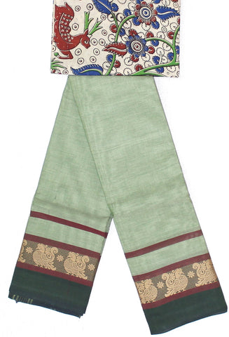 CCST166-Chettinad Cotton saree with pattern zari double border and Kalamkari blouse