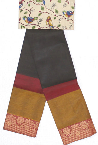 CCST168-Chettinad Cotton saree with pattern thread border and Kalamkari blouse
