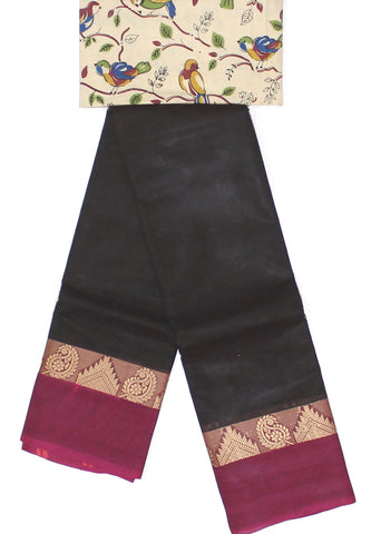 CCST169-Chettinad Cotton saree with pattern thread border and Kalamkari blouse