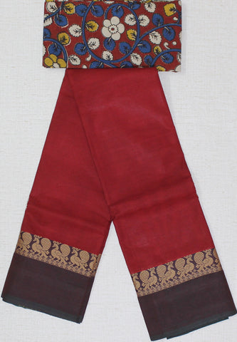 CCST183-Chettinad Cotton saree with peacock thread border and Kalamkari blouse