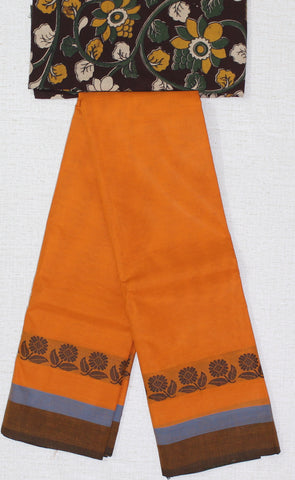 CCST184-Chettinad Cotton saree with flower thread border and Kalamkari blouse