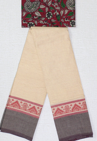 CCST186-Chettinad stripes Cotton saree with pattern thread border and Kalamkari blouse