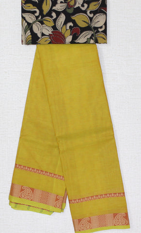 CCST188-Chettinad stripes Cotton saree with mango thread border and Kalamkari blouse