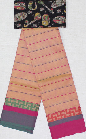 CCST189-Chettinad stripes Cotton saree with swastik thread border and Kalamkari blouse