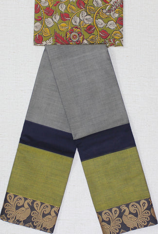 CCST191-Chettinad  Cotton saree with peacock thread border and Kalamkari blouse