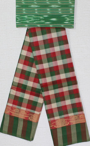 CCST196-Chettinad Cotton checks saree with pattern thread border and ikkat blouse