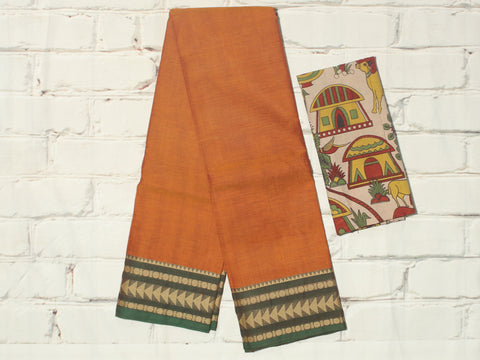 CCST201-Chettinad Cotton saree with pattern thread border and Kalamkari blouse