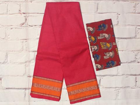 CCST202-Chettinad Cotton saree with pattern thread border and Kalamkari blouse