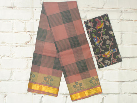 CCST207-Chettinad checkered Cotton saree with floral thread border and kalamkari blouse