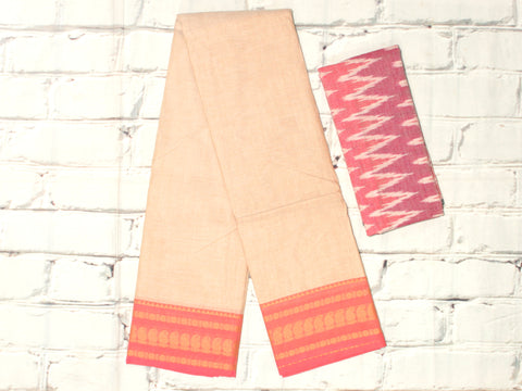 CCST212-Chettinad Cotton saree with pattern  thread border and ikkat blouse
