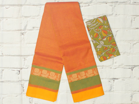 CCST215-Chettinad Cotton saree with floral  thread  border and kalamkari blouse
