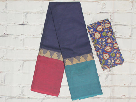 CCST218-Chettinad Cotton saree with temple thread border and Kalamkari blouse