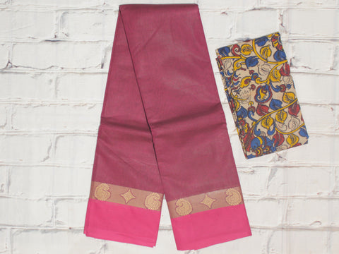 CCST219-Chettinad Cotton saree with pattern thread border and Kalamkari blouse