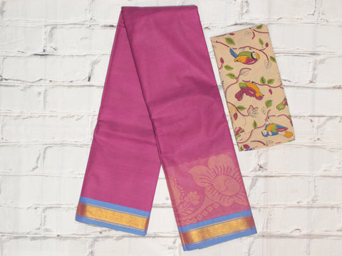 CCST222-Chettinad Cotton saree with floral big thread border and Kalamkari blouse