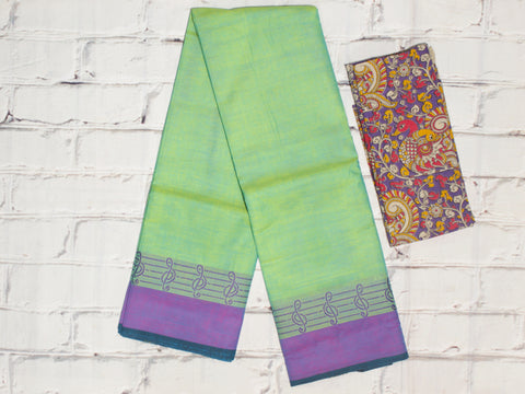 CCST223-Chettinad Cotton saree with musical note thread border and Kalamkari blouse