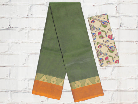 CCST226-Chettinad Cotton saree with pattern thread border and Kalamkari blouse