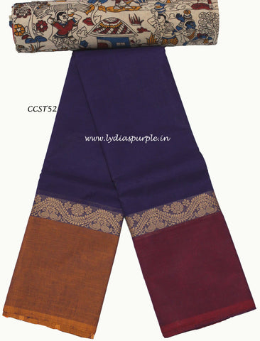 CCST52-Chettinad Cotton saree with musical instruments thread border and Kalamkari blouse - LydiasPurple
