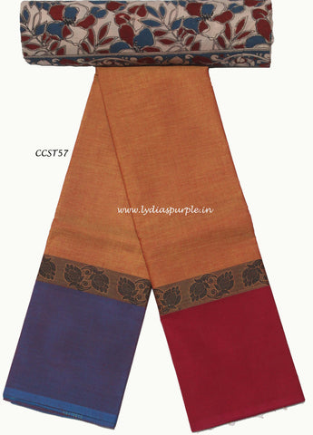 CCST57-Chettinad Cotton saree with musical instruments thread border and Kalamkari blouse - LydiasPurple