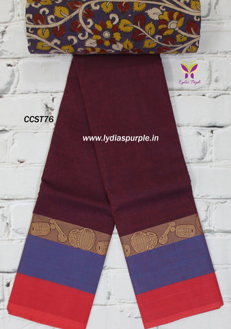 CCST76-Chettinad Cotton saree with musical intruments  thread border and Kalamkari blouse - Lydiaspurple
