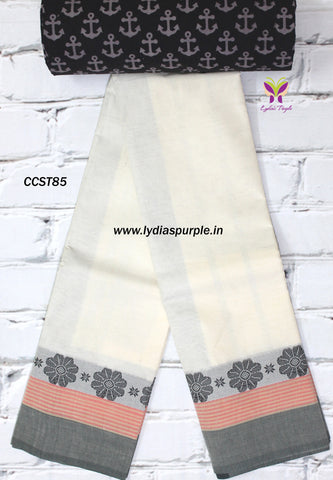 CCST85-Chettinad Cotton saree with flower thread border and Kalamkari blouse - Lydiaspurple