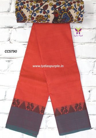 CCST90-Chettinad Cotton saree with peacock thread border and Kalamkari blouse - Lydiaspurple
