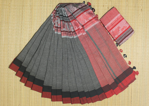 HBCMKCSBR- Black and red chariot motif handwoven khadi cotton saree with blouse
