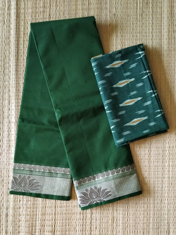 CCST231-Chettinad  Cotton saree with pattern thread border and ikkat blouse