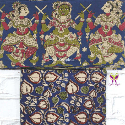 BKBB01- blue dancing doll kalamkari border paired with floral kalamkari blouse - Lydiaspurple