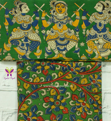 GKBB01-green dancing doll kalamkari border paired with floral kalamkari blouse - Lydiaspurple